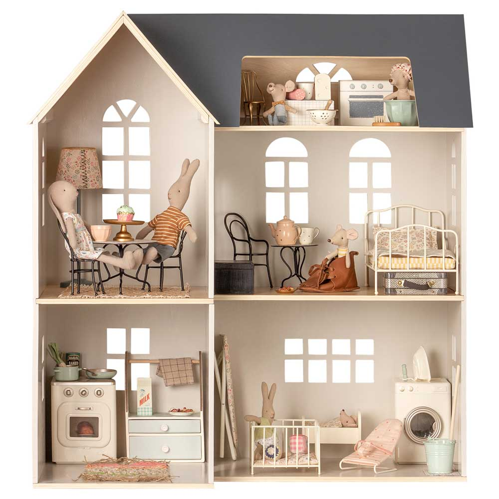 Maileg house dolls house filled with furniture and bunnies