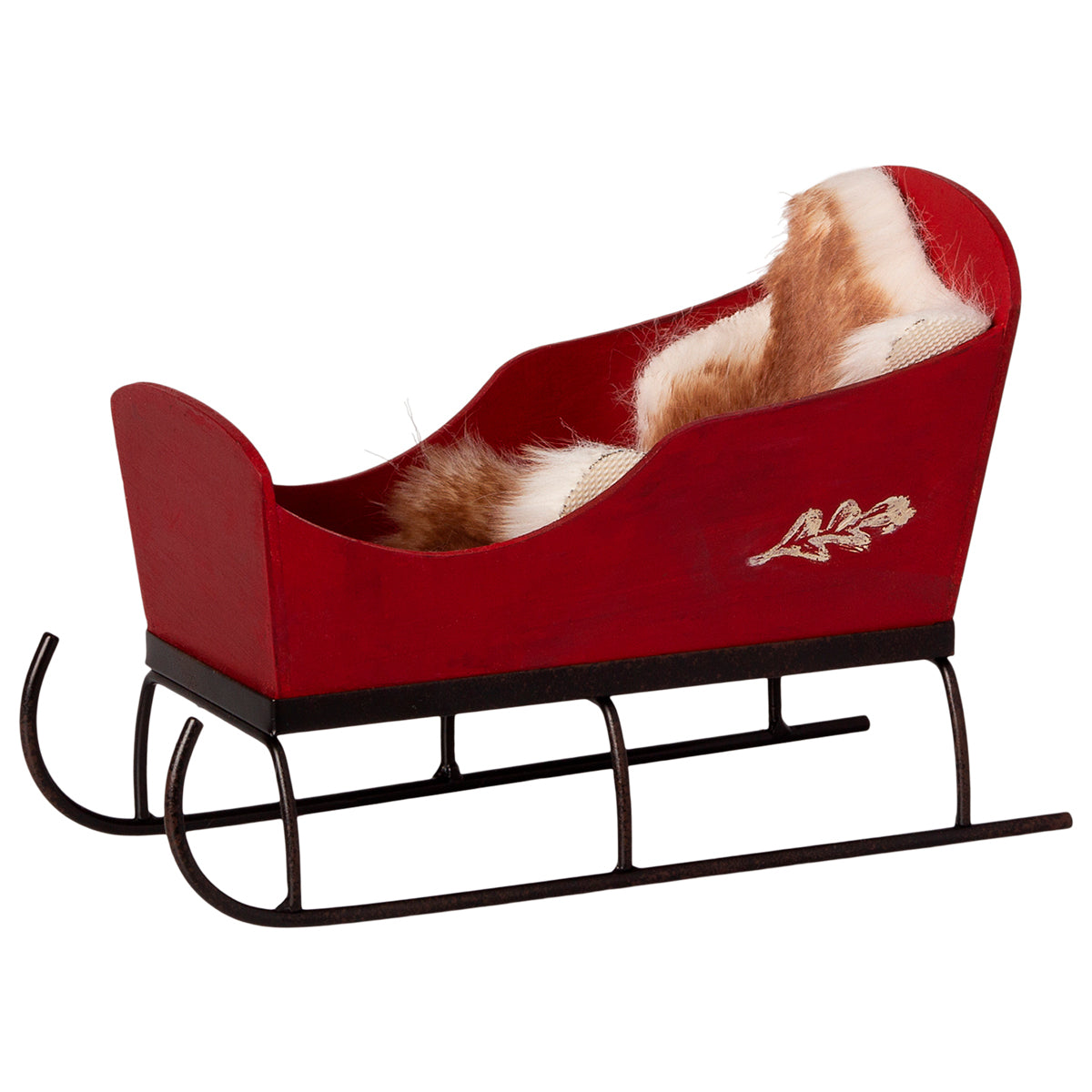 Maileg miniature Sleigh - Red with blanket