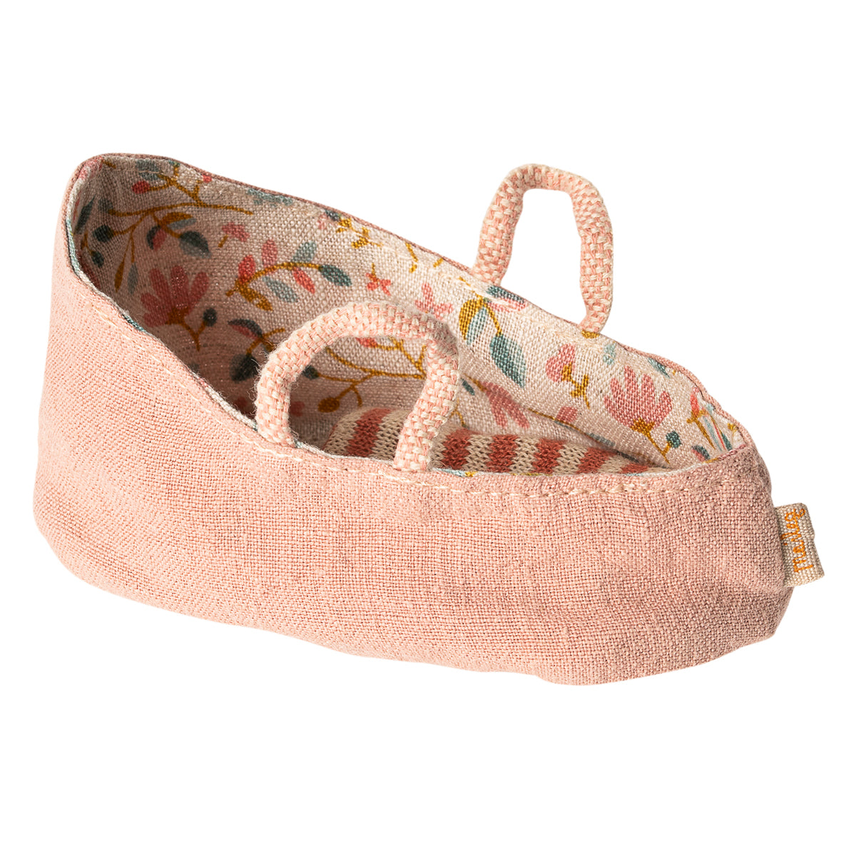 Maileg Baby mouse in carrycot misty Rose