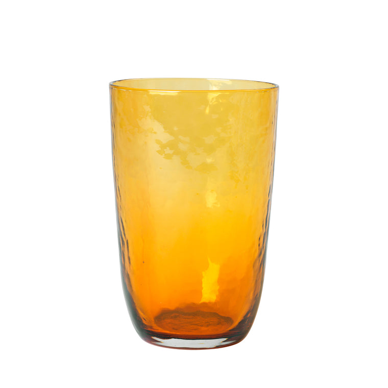 Hammered drinking glass Amber