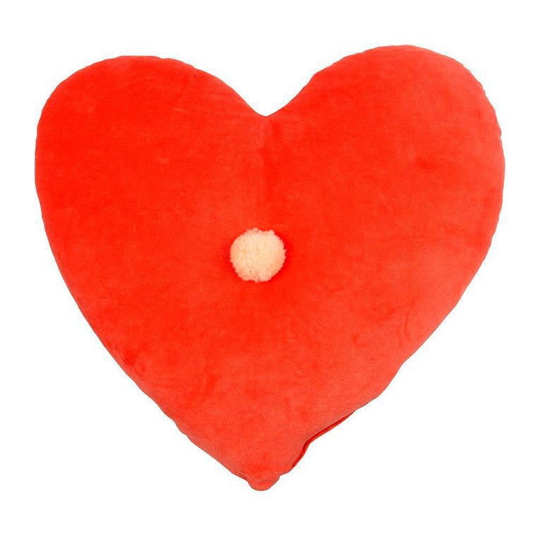Velvet Heart Cushion Coral