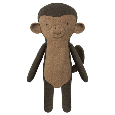 Maileg Noah's Friends Monkey mini All ages new baby Grey linen