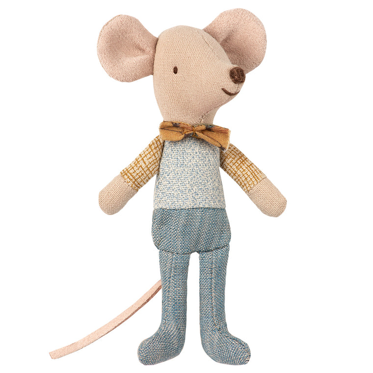maileg little brother mouse in a box with a  bow tie