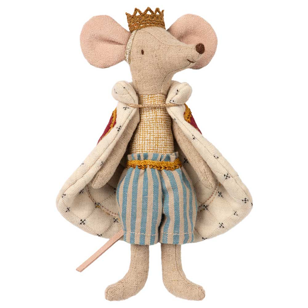 Maileg King Mouse mice in a box washable linen dolls for dolls house