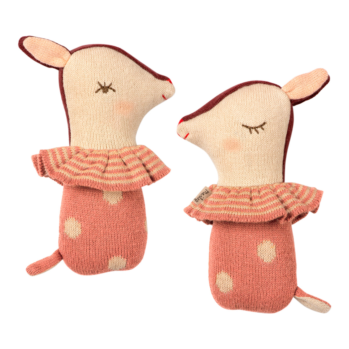 Bambi Rattle Rose Maileg knitted toy baby rattle