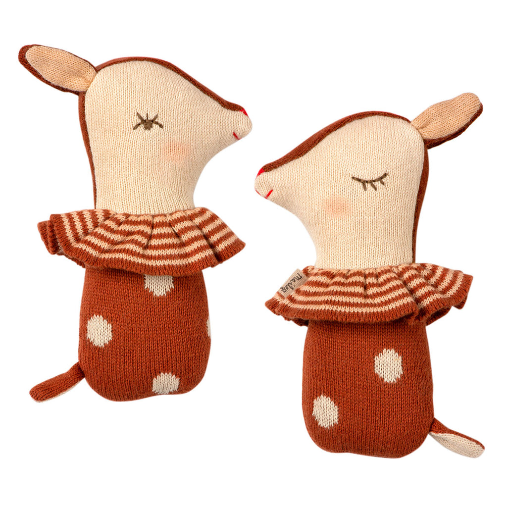 Bambi Rattle Rusty Maileg knitted toy baby rattle