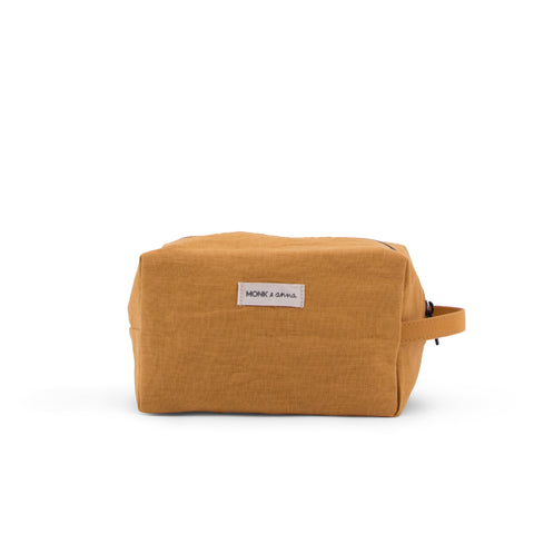Monk and Anna linen wash bag toiletry bag honey mustard