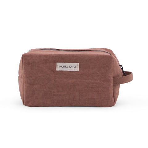 Monk and Anna chestnut washbag washbag muted colours organic linen