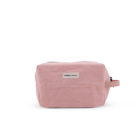 monk and anna linen wash bag toiletry pink make-up bag