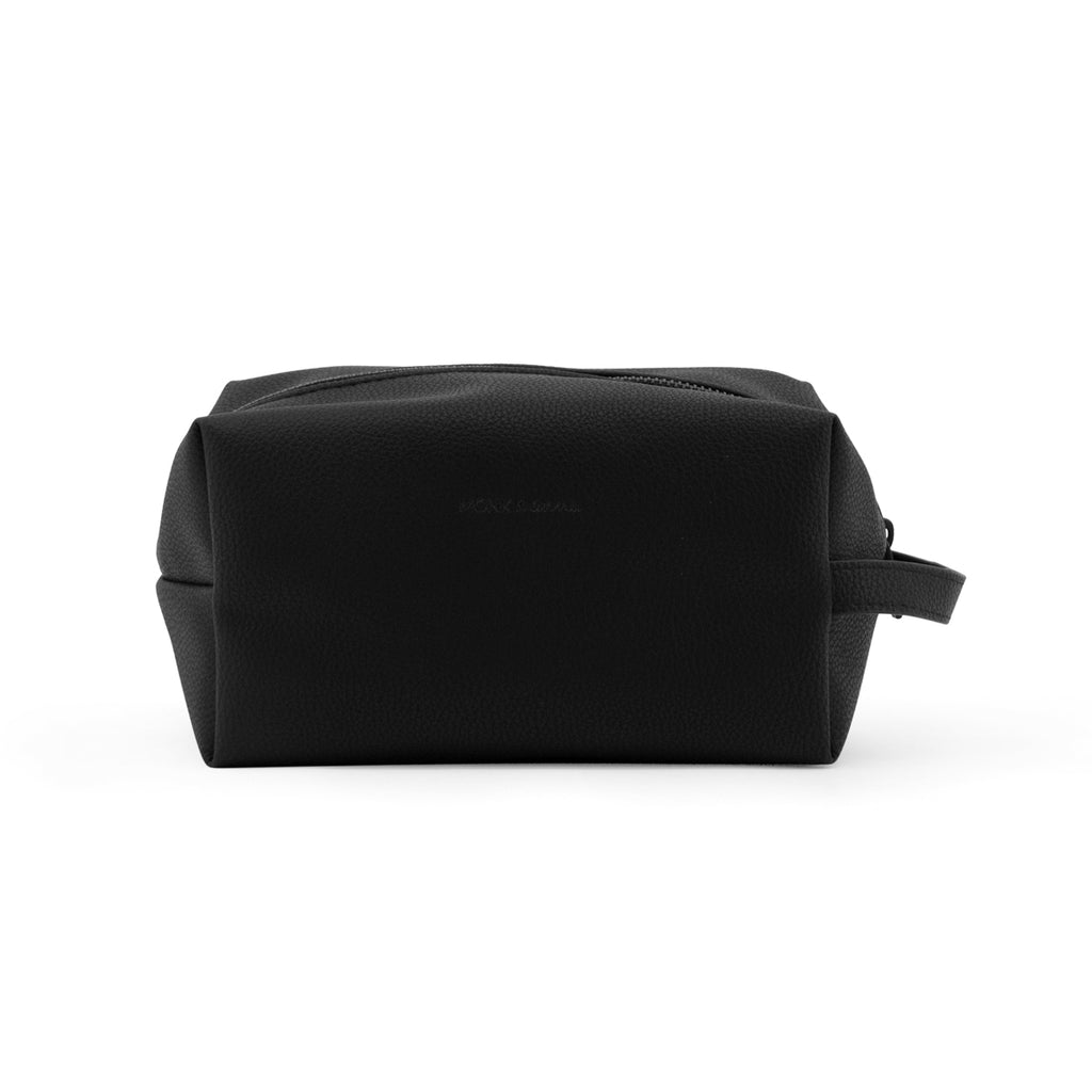 Toiletry bag | black Monk and Anna PU Leather vegan wash bag