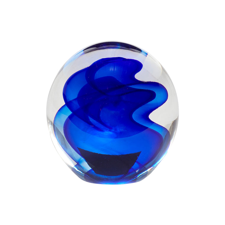 Paperweight, glass, blue