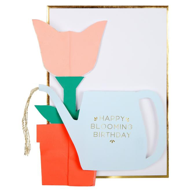 Flower Honeycomb & Watering Can Card
