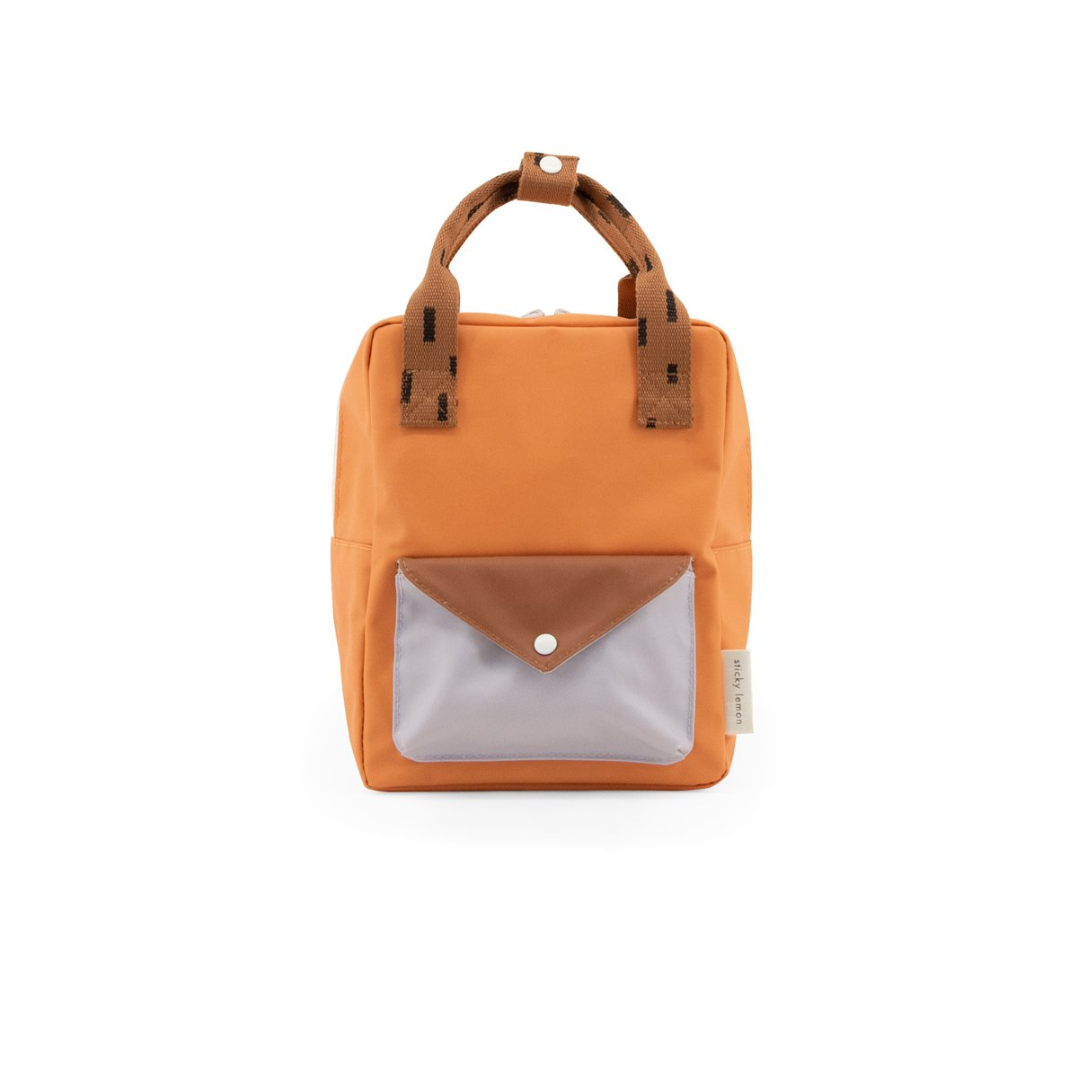Sticky lemon small backpack sprinkles | envelope | apricot orange, cinnamon brown + lavender