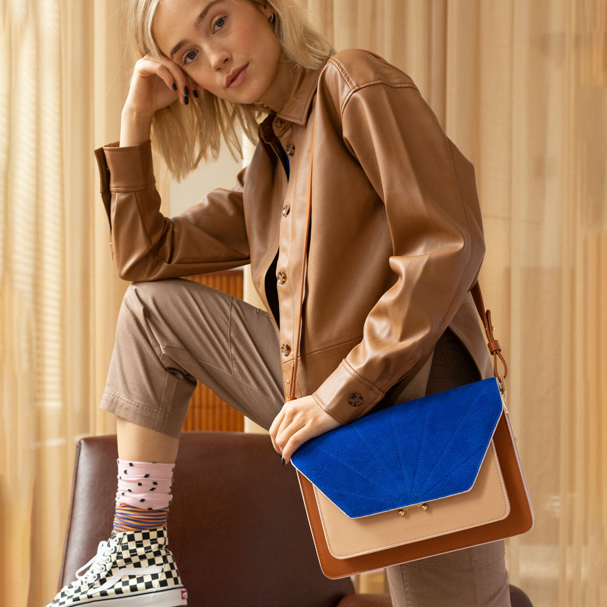 The sticky sis club satchel vegan leather and blue suede