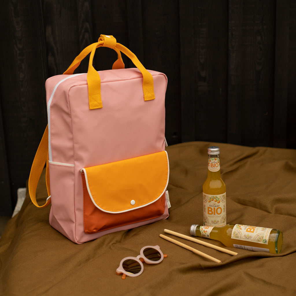 Sticky Lemon Large backpack wanderer candy pink + sunny yellow + carrot orange