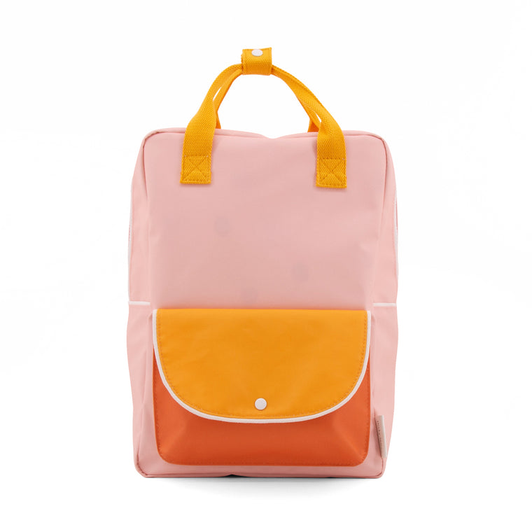 Large backpack wanderer candy pink + sunny yellow + carrot orange