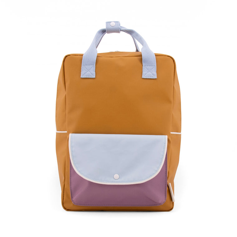 Large backpack wanderer caramel fudge + sky blue + pirate purple