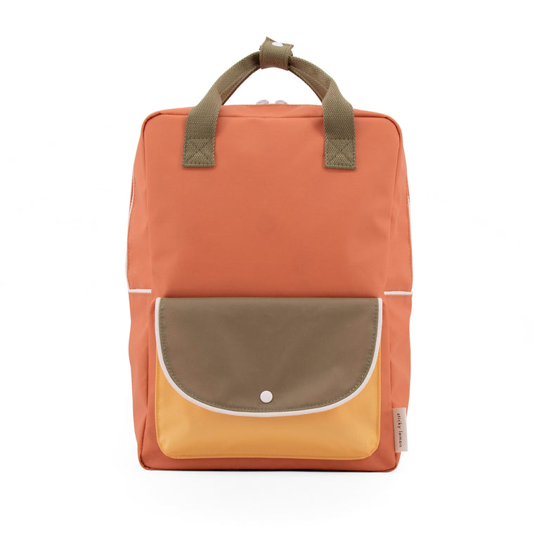 Large backpack wanderer faded orange + seventies green + retro yellow