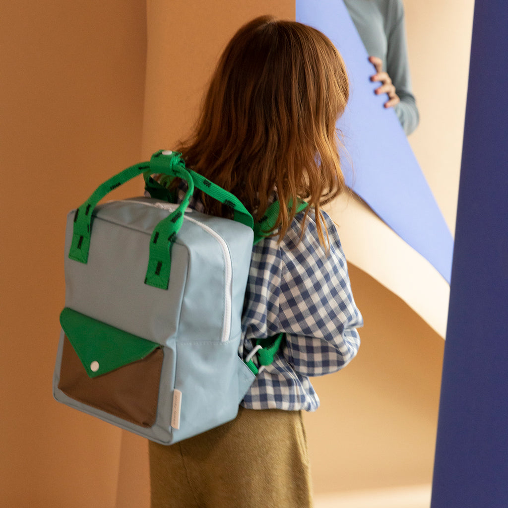 Sticky Lemon small backpack sprinkles | envelope | steel blue + apple green + brassy green