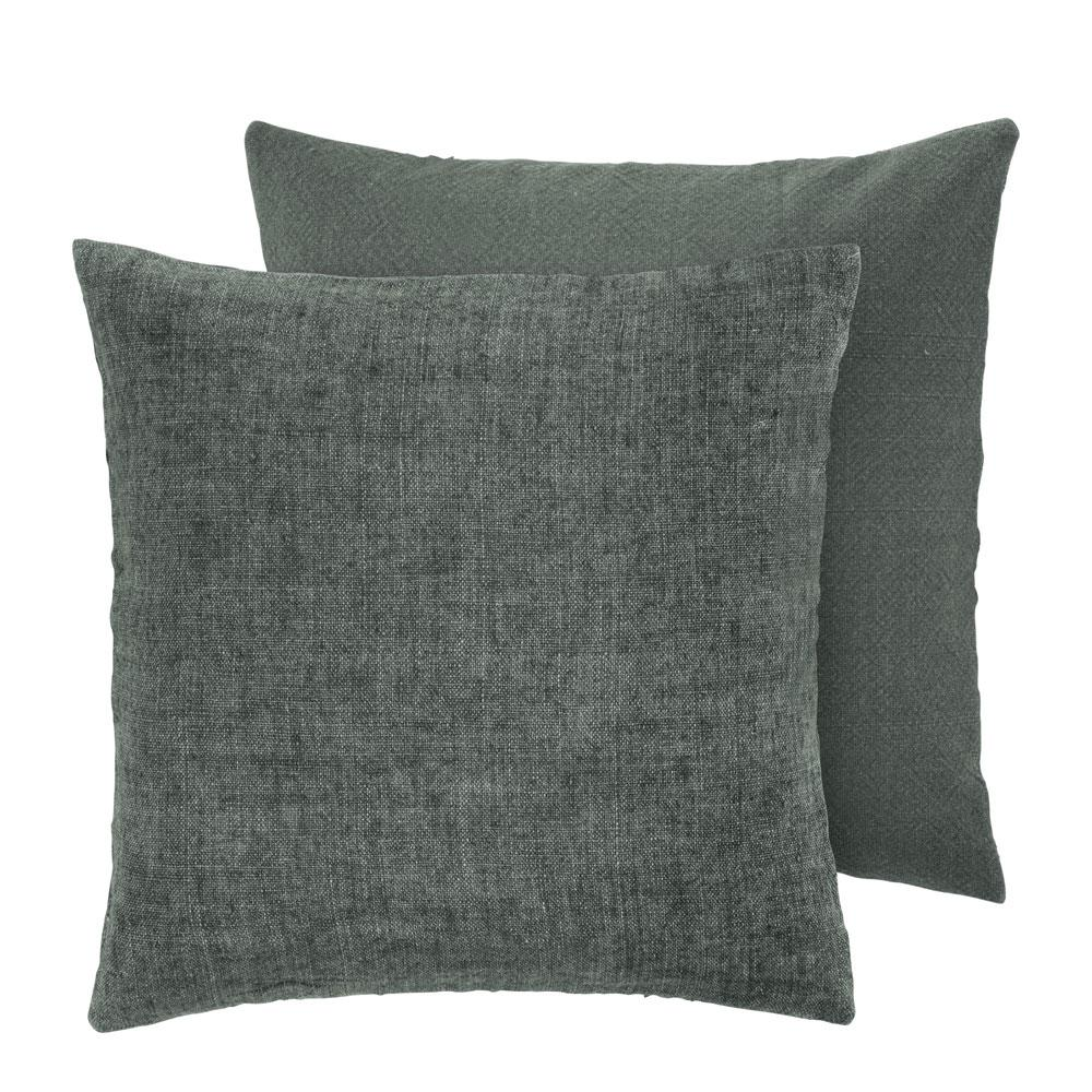 Olive green linen cushion cozy living