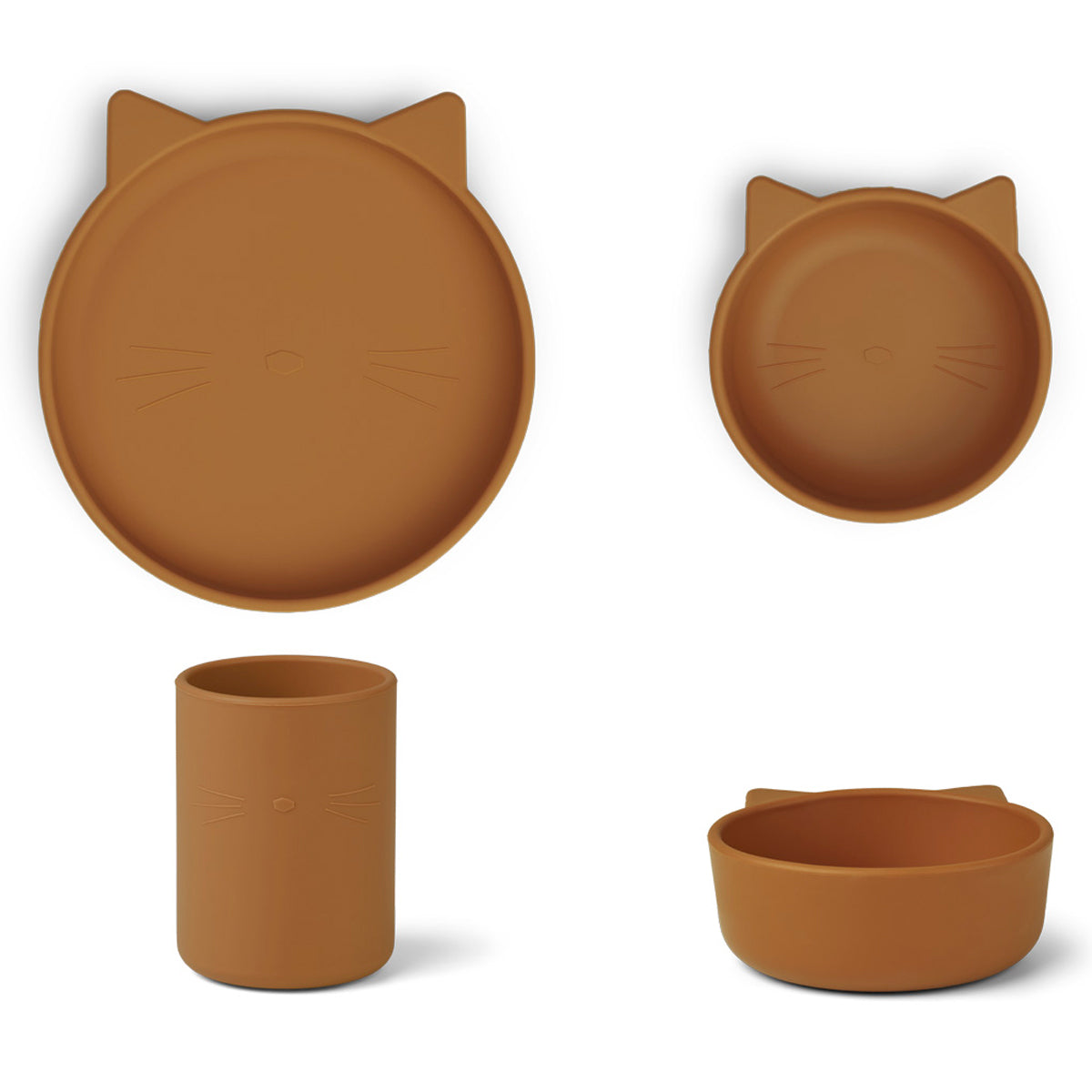 Liewood Cyrus Silicone Tableware 3 pack - Junior - Cat mustard