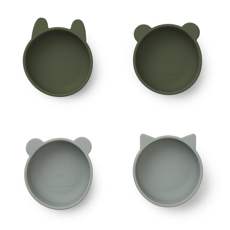 Iggy Silicone Bowls 4 Pack - Hunter green mix