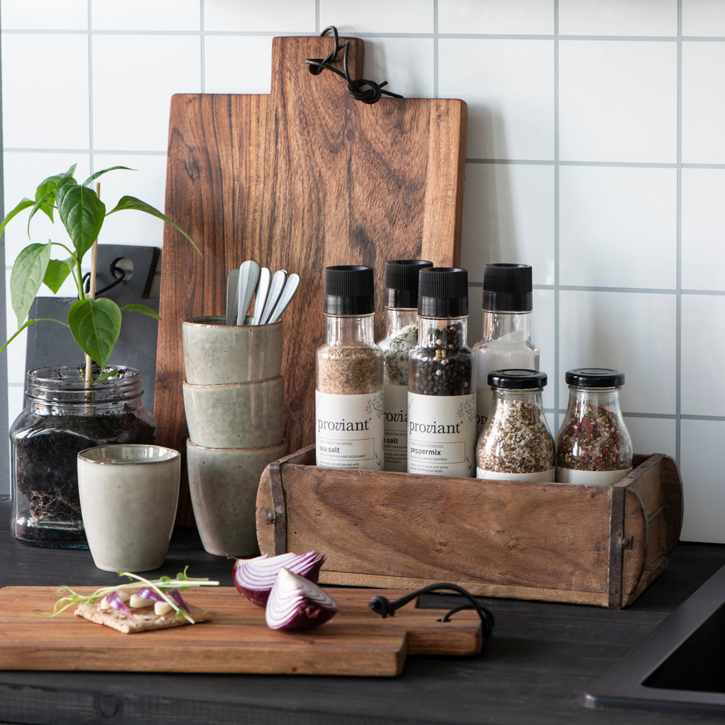 wooden brick moulds from IB Laursen used for storing spices in the kitchen