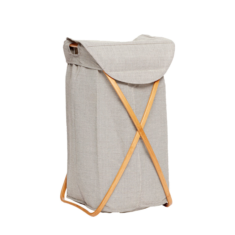 Laundry basket, fabric/bamboo, grey