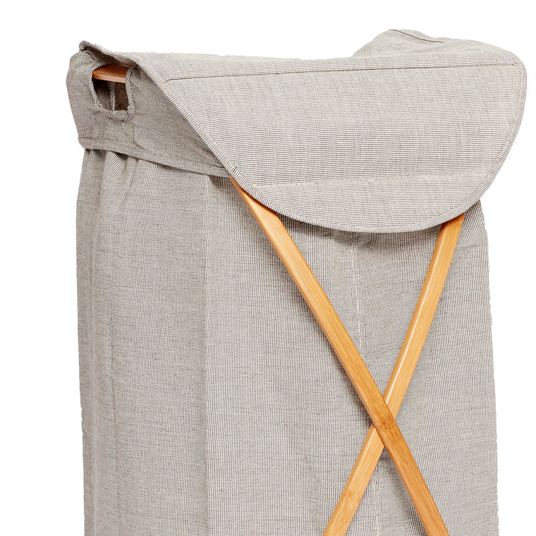 Laundry basket, fabric/bamboo, grey Hübsch