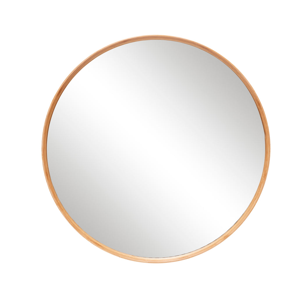 hubsch mirror with wooden frame round bamboo