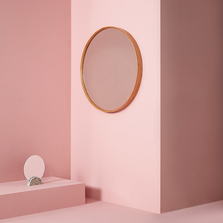 Classic round Mirror with bamboo wooden frame Hübsch