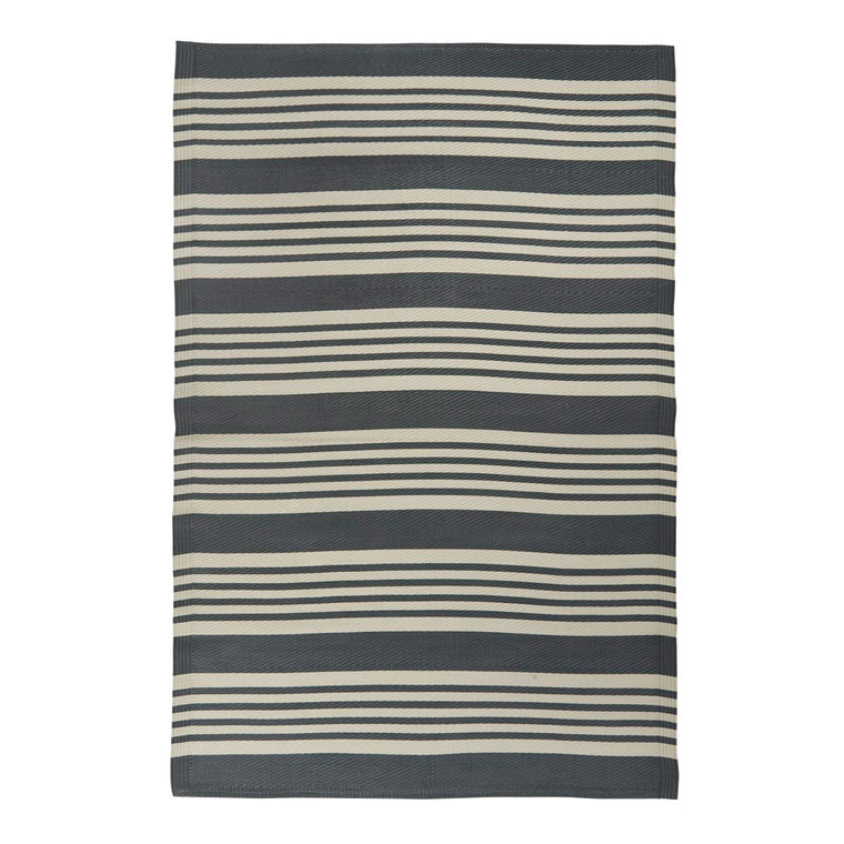 Charcoal Grey Striped Recycled Plastic Mat, 120 x 180 cm