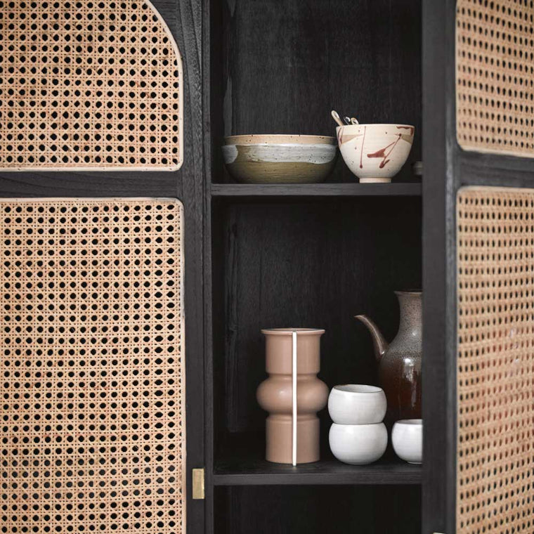 retro webbing cabinet with shelves Black HK Living