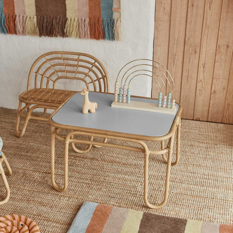 Rainbow Mini Bench from Oyoy living design Childrens rattan bench and chair and table