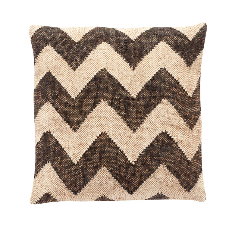 Kelim pattern cushion black and beige