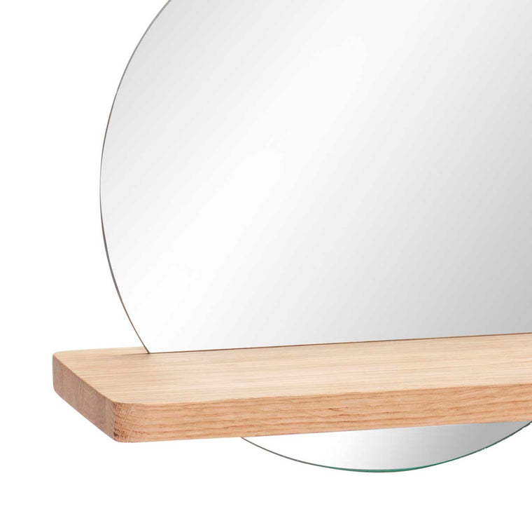 Round Mirror and oak shelf from Hübsch