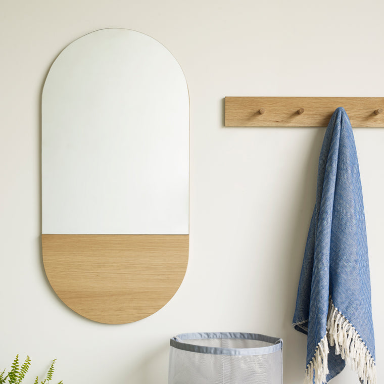 Wall mirror, Oval oak, nature, 60cm Oak, Nature Hübsch