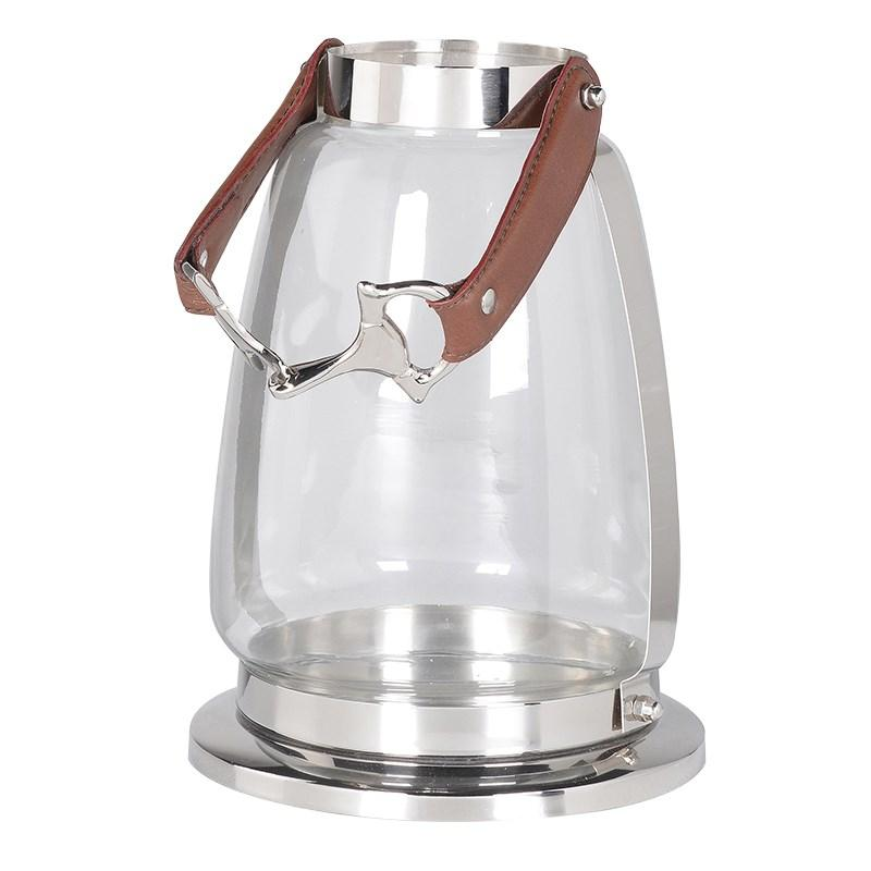 Glass Lantern With Stirrup Handle