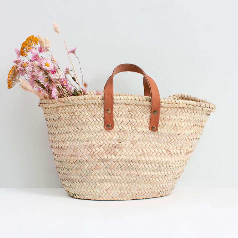 Mini Valencia Basket woven leather handles Bohemia