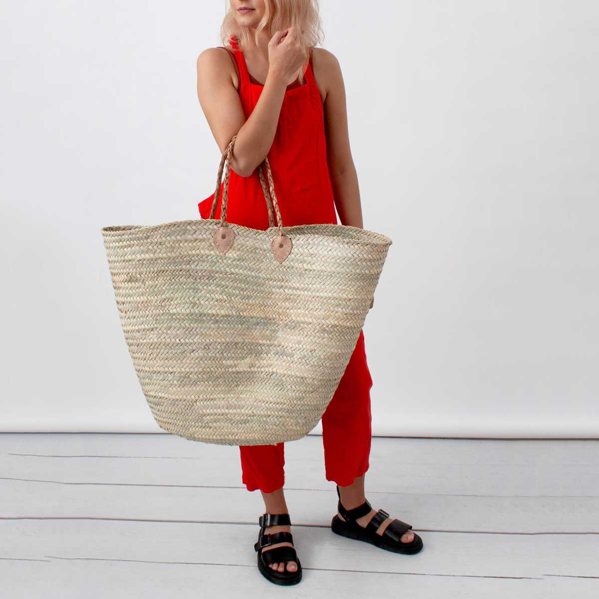Oversized French shopping basket bohemia design