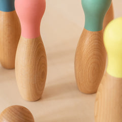 Nobodinoz Bowling set wooden pins with pastel coloured tops