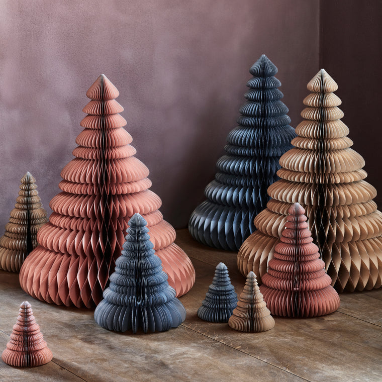 Broste Copenhagen Pink Paper Trees with silver gilt Pink