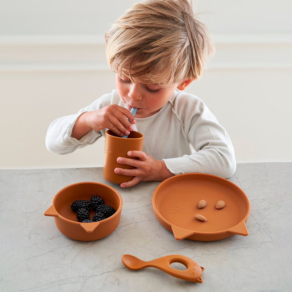 Cyrus Silicone Tableware 3 pack - Junior - Cat mustard