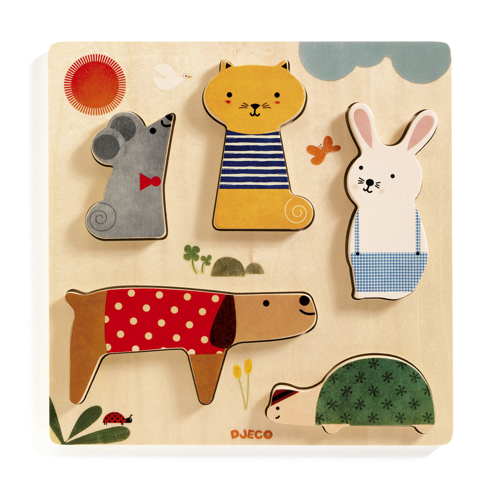 Woodypets wooden puzzle from Djeco with rabbit mouse cat dog snail