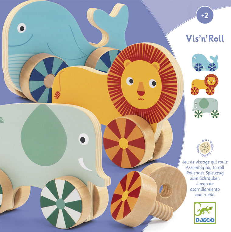 Vis'n'roll wooden screw on toy Djeco Lion Elephant Whale