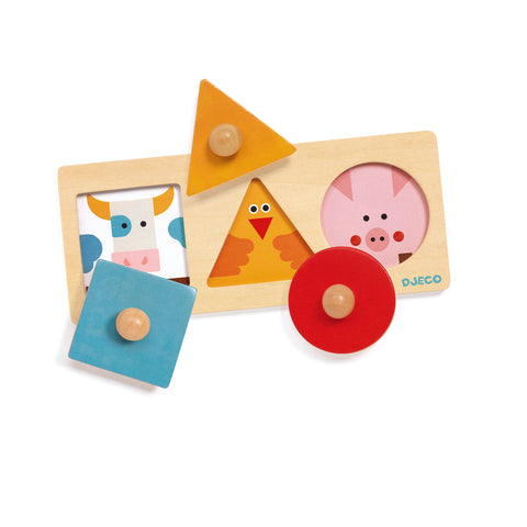 FormaBasic wooden toy from Djeco with shapes and colours