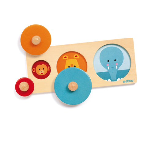 Bigabasic wooden toy from Djeco with size colours and animals