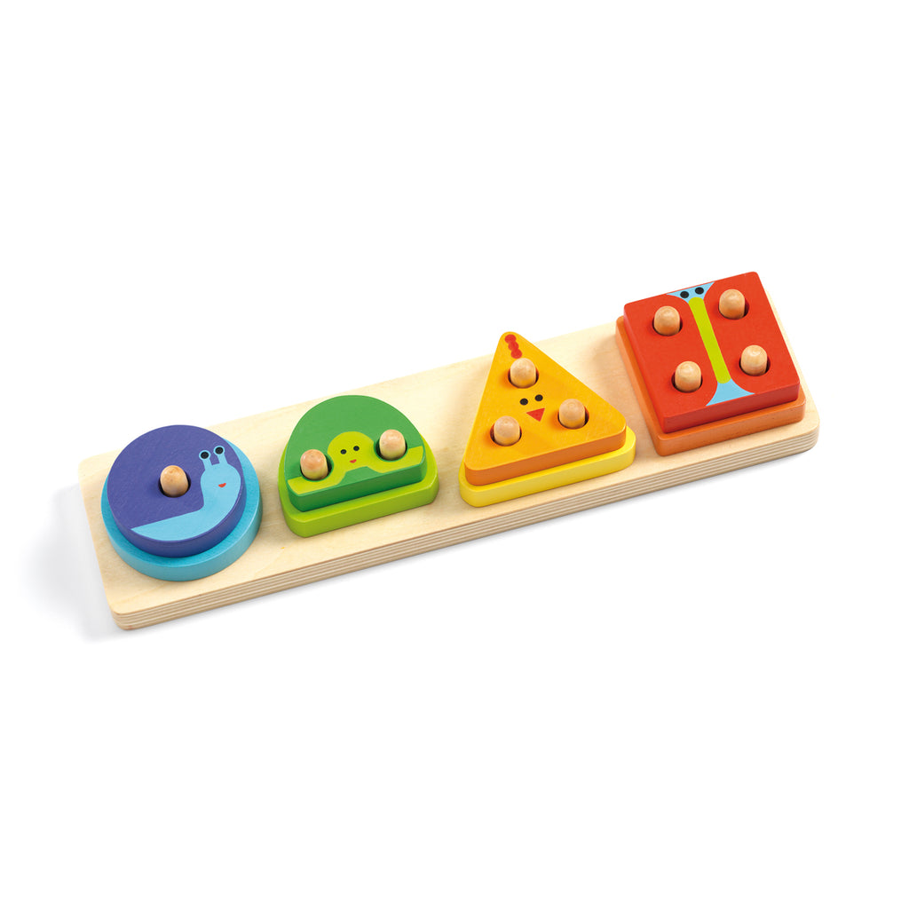 1234Basic wooden toy from Djeco shape sorter colours and numbers