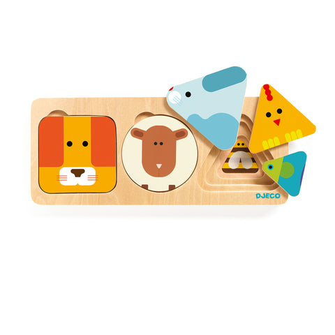 AnimaBasic wooden toy from Djeco sort animal sizes