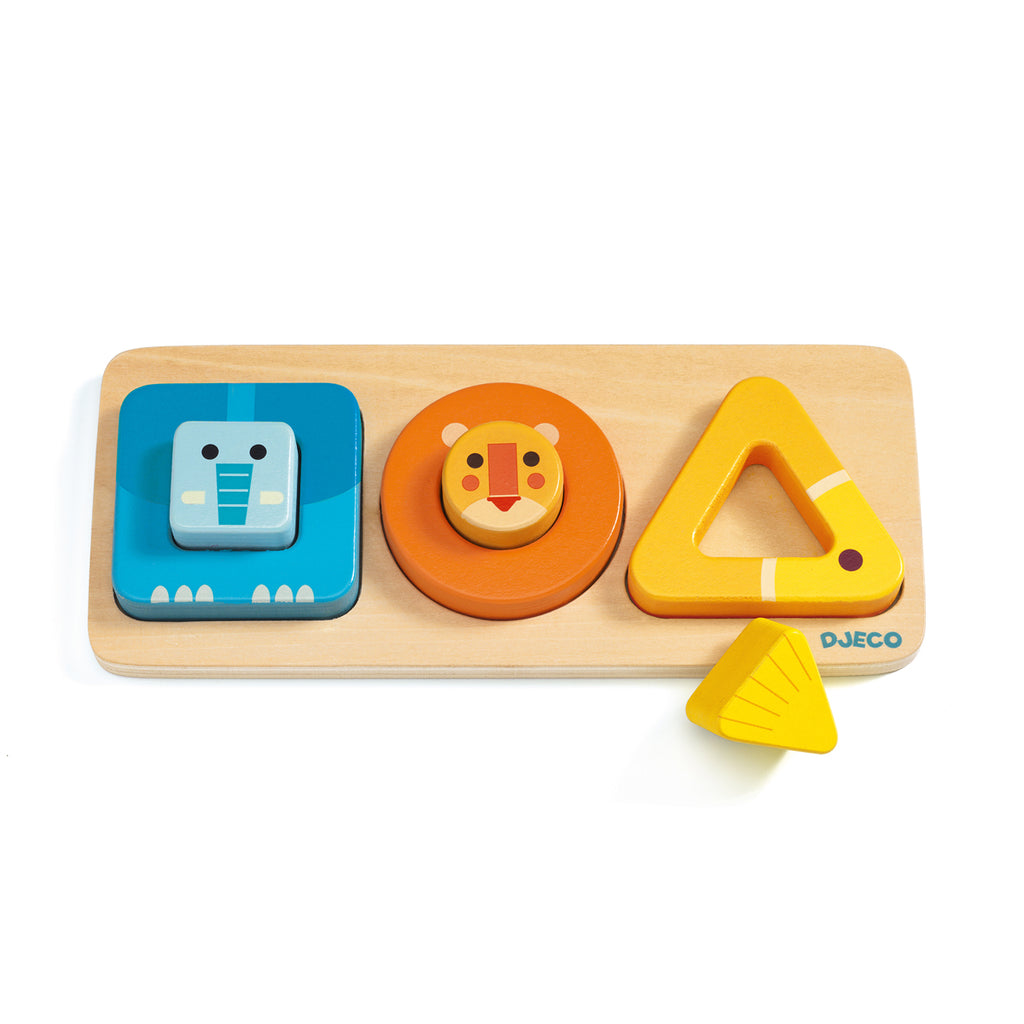 Volubasic wooden toy from Djeco sort animals shapes and colours